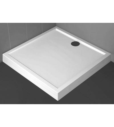 Plato de ducha cuadrado 11.5 cm blanco mate Novellini Olympic