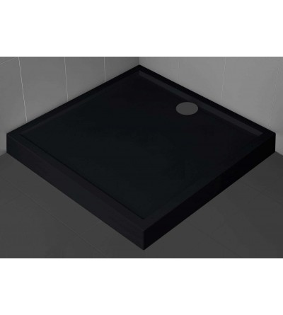 Square shower tray 11.5 cm black color Novellini Olympic