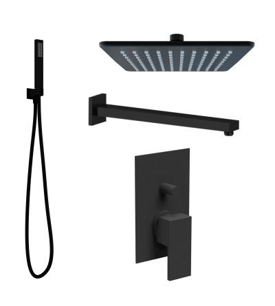 Kit de ducha cuadrado negro mate Ponsi square BNKISK0009