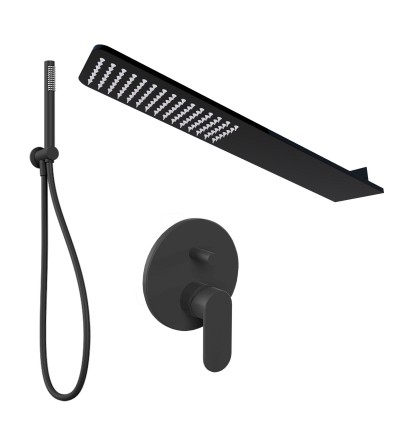 Shower kit with matt black wall shower head Ponsi BNKISK0005