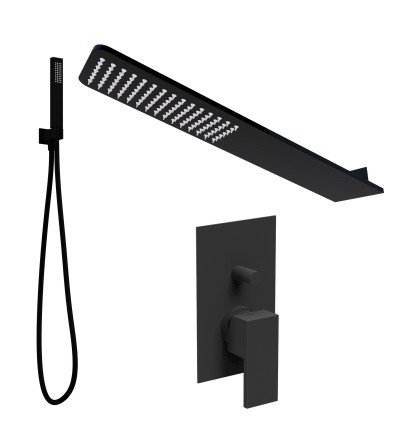 Shower kit with matt black wall shower head Ponsi BNKISK0006