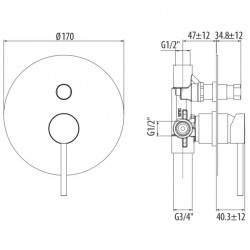 Miscelatore doccia incasso 2 uscite nero opaco Gattoni Easy 2234/22NO