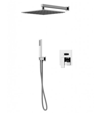 Complete square model shower kit Gattoni Kubic KTQ15/PD