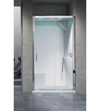 Shower enclosure in niche 120 x 80 whirlpool version Novellini Eon 2P
