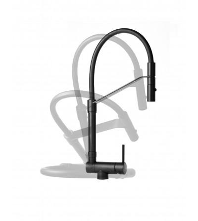 Matt black underwindow kitchen sink mixer Gattoni Rubinetterie 6015065NO
