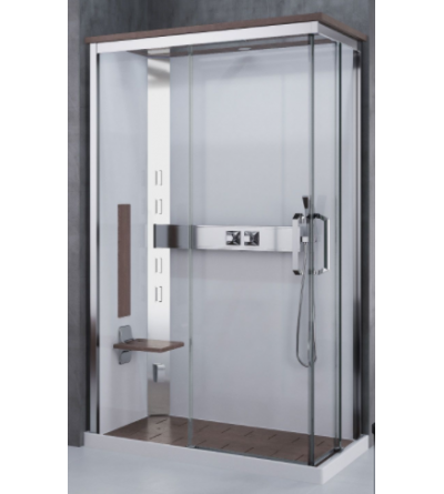 Multifunctional asymmetrical shower enclosure with 2 sliding doors Novellini Nexis A100