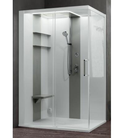 Asymmetrical multifunctional shower enclosure 1 sliding door Novellini Skill 2P