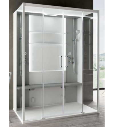 Double station multifunctional shower enclosure, center wall version Novellini Skill Dual