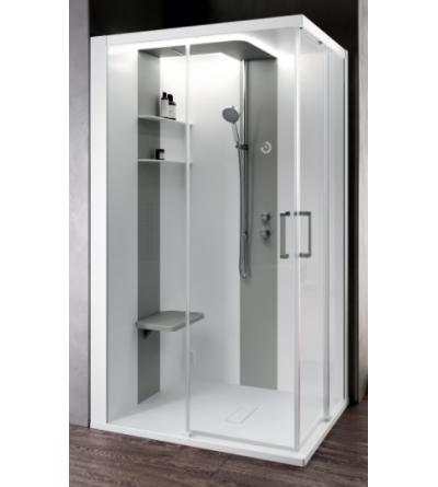 Asymmetrical multifunctional shower enclosure 2 sliding doors Novellini Skill A