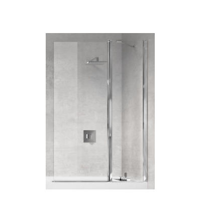Bath screen 1 fixed and 1 180 ° swivel door with support bar Novellini Young 3V