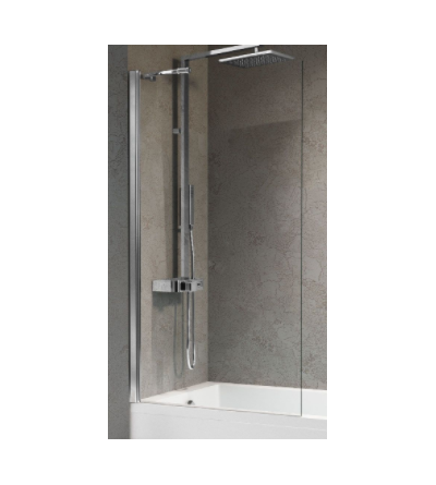 Bath screen with 1 fixed door with wall support bar Novellini Aurora 5