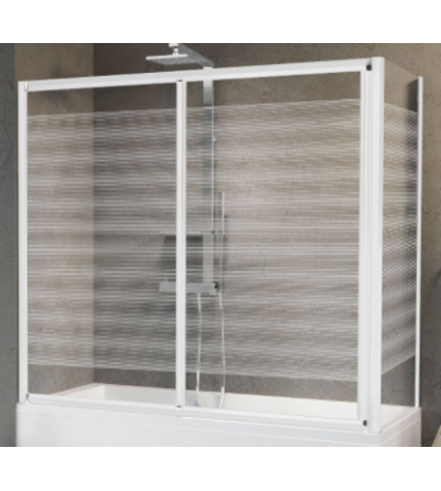 Bath screen opening 1 sliding door and 1 fixed in line Novellini Aurora 2PV4