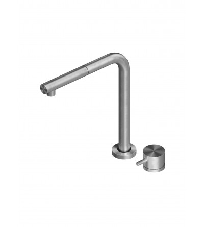 Stainless steel kitchen sink mixer with folding spout Quadrodesign 443.12AS