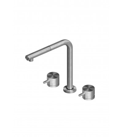 Three-way kitchen mixer in stainless steel Quadrodesign 543.12AS