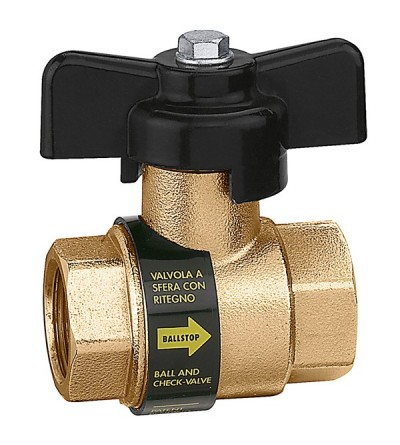 BALLSTOP - Ball valve with built-in check valve with butterfly handle Caleffi 3230