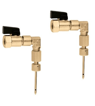 Pair of fittings with fast-plug syringe for connection of pressure ports Caleffi 100010