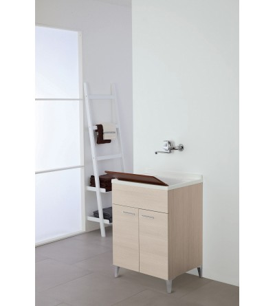 Washbasin cabinet with two doors in light oak color L 60 cm Feridras Stella 799068