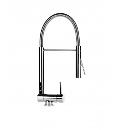 Kitchen mixer with folding spout and professional shower Nice 290034MCR