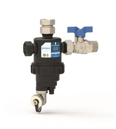 Dirt separator filter for vertical installation with valve Pettinaroli K102V/1