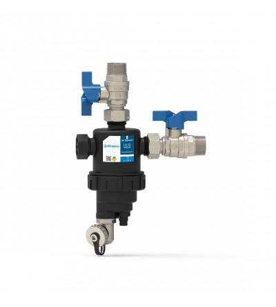 Dirt separator filter for vertical installation with double valve Pettinaroli K102V/2
