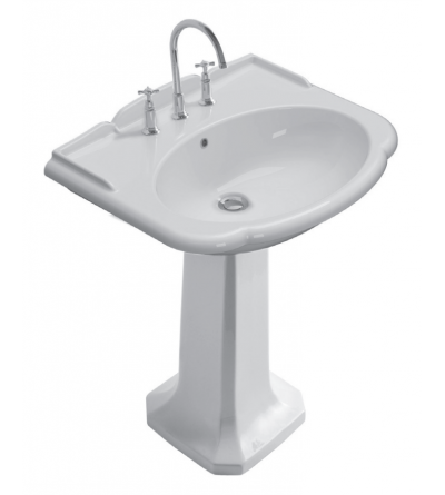Ceramic washbasin installation on floor pedestal 71.58 Globo Paestum PA006BI