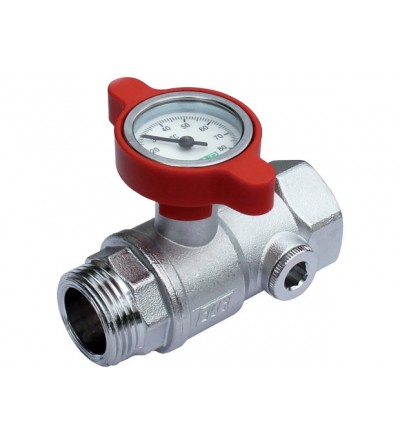 Manual ball valve complete with temperature gauge FAR 3049