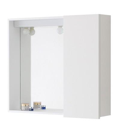 Specchiera bianca con contenitore e illuminazione Feridras 606102