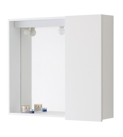 White mirror with container and lighting Feridras 606102