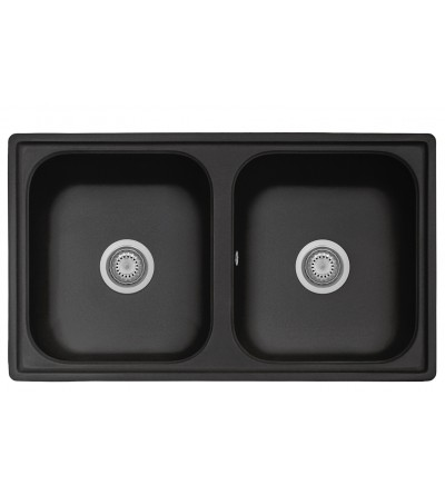 Kitchen sink in black composite material with double basin 86 cm Telma FT0862026