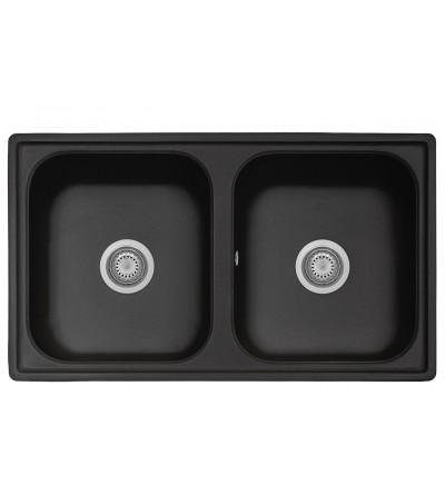 Lavello cucina in materiale composito colore nero a doppia vasca 86 cm Telma FT0862026
