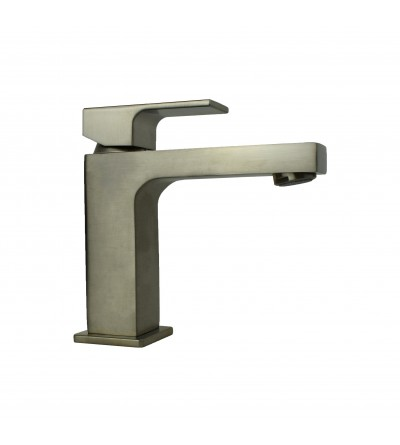 Brushed steel basin mixer square model Gattoni Kubik 2582/25NS