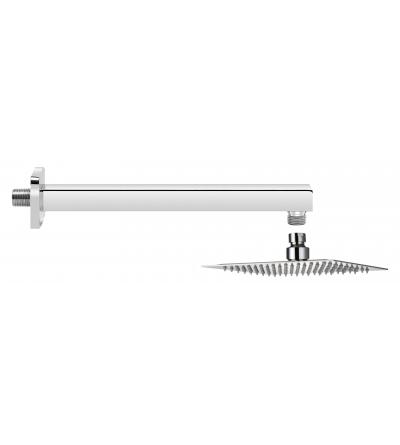 Set per doccia soffione 25x25 cm braccio 40 cm Piralla KITSOFQ3