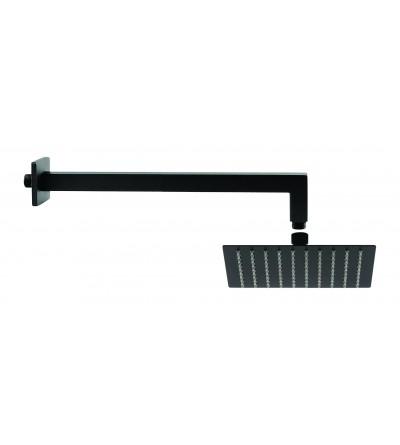 Set per doccia soffione 25x25 cm braccio 40 cm nero opaco Piralla KITSOFQ3NR