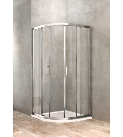 Semi-round shower enclosure 90 x 90 transparent glass Ponsi Gold BBGOLTSE90