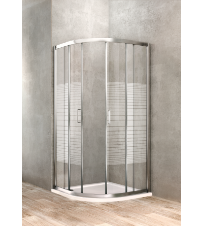 Semi-round shower enclosure 80 x 80 silk-screened glass Ponsi Gold BBGOLSSE80