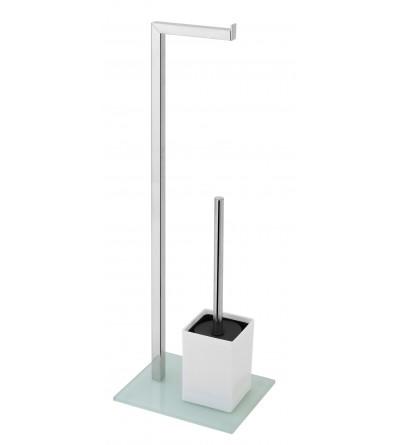 Roll holder and toilet brush holder in gray color Feridras 810008
