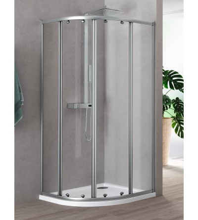 Semicircular corner shower enclosure with 2 sliding and 2 fixed doors Novellini Riviera 2.0 R