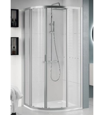 Semicircular corner shower enclosure asymmetrical version with 2 sliding and 2 fixed doors Novellini Lunes 2.0 R