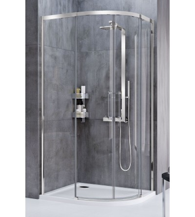 Semicircular corner shower enclosure symmetrical version with 2 sliding and 2 fixed doors Novellini Rose Rosse R