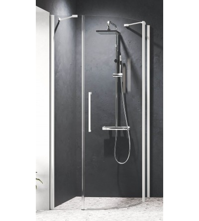 Semi-circular corner shower enclosure with 1 hinged door and 2 fixed doors Novellini Young R1