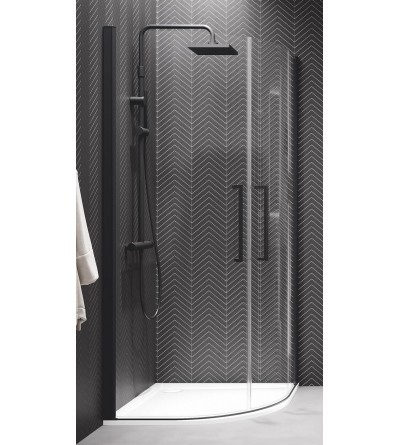 Semi-circular corner shower enclosure with 2 hinged doors Novellini Young R2 Lux