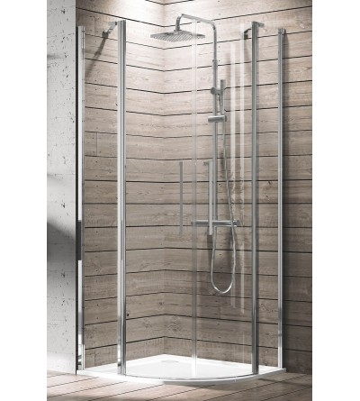 Semi-circular corner shower enclosure with 2 hinged doors and 2 fixed doors Novellini Young R2