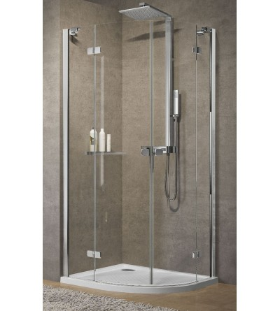 Semicircular corner shower enclosure with 1 hinged door and 2 fixed doors Novellini Brera R