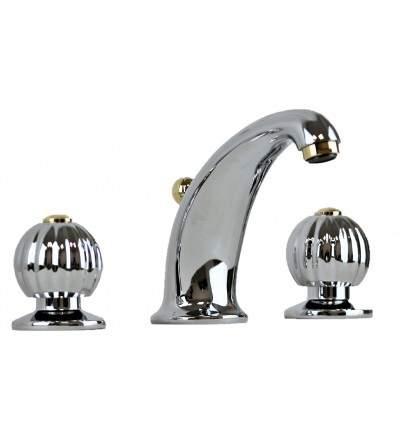 Chrome-gold 3-hole basin mixer Resp Sahara 120