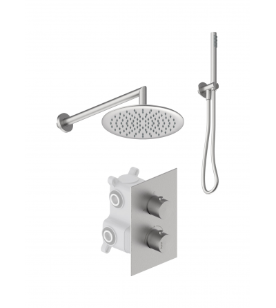 Complete thermostatic shower set in AISI 316 stainless steel Ponsi Stilox KITSTLO2