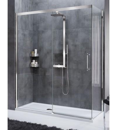 Corner shower enclosure 1 sliding door and 1 fixed door in line Novellini Rose Rosse PH