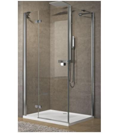 Corner shower enclosure 1 hinged door and 1 fixed in-line door Novellini Brera G+F