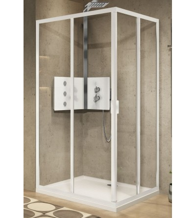 Corner shower enclosure with 2 sliding and 2 fixed doors Novellini Lunes 2.0 A