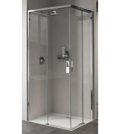 Corner shower enclosure with 2 sliding doors and 2 fixed doors Novellini Opera A