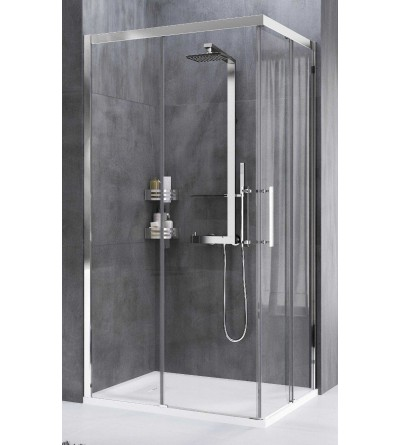 Corner shower enclosure with 2 sliding doors and 2 fixed doors Novellini Rose Rosse A